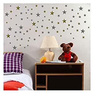 TOARTi Stars Wall Decals (248 Decals) Wall Stickers Removable Home Decoration Easy to Peel Stick Painted Walls Metallic Vinyl Polka Wall Decor Sticker for Baby Kids Nursery Bedroom (Gold&Silver Stars)