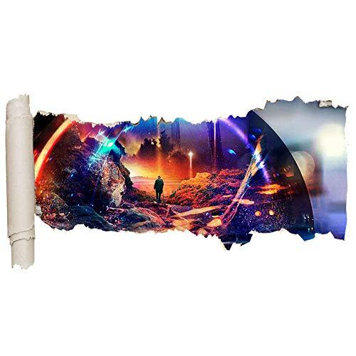 Wall Sticker Wall Stickers City Bridge Lights Sunset Smashed Decal 3D Art Vinyl Room