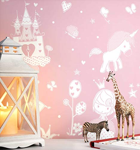 NEWROOM Kindertapete rosa Schloss Prinzessin Kinder Vliestapete Vlies Kindertapete Kinderzimmer Babytapete Babyzimmer Märchen