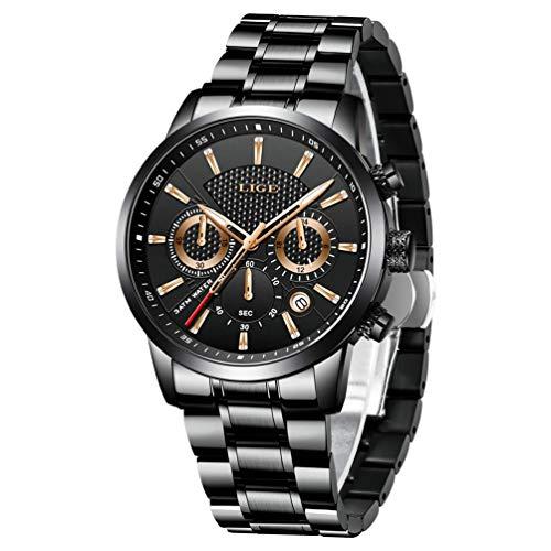 LIGE Luxusmarke Manner Wasserdicht Edelstahl Analoge Quarzuhr Schwarz Runde Klassische Datum Armband 9866