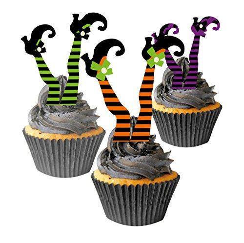 SUNBEAUTY Muffin Deko Set Halloween Hexen Beine 25 Cupcake Förmchen 12 Kuchendeko