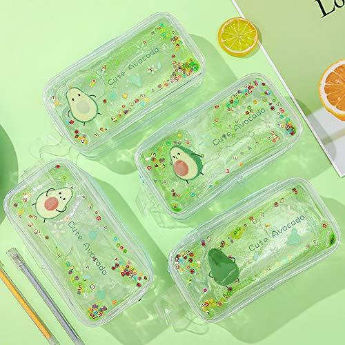 DishyKooker Avocado Transparentes Federmäppchen Cartoon Pfirsich Große Kapazität Federtasche ein Herz (Boxed) - für Büro Schule