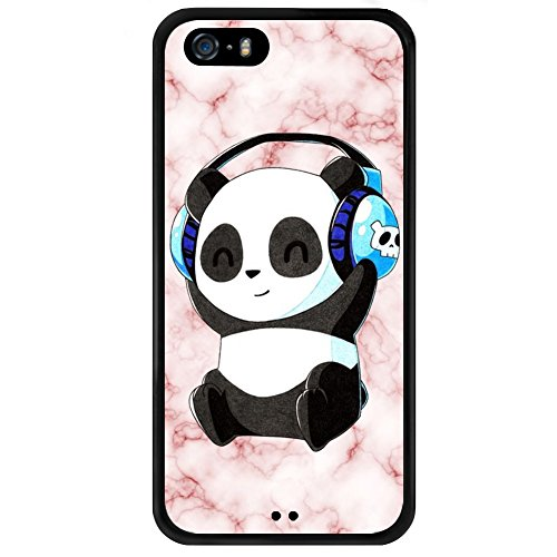 ChyFS Case for iPhone 5s 5 SE Marble Panda Phone Case ,PC and TPU Black Protective Case