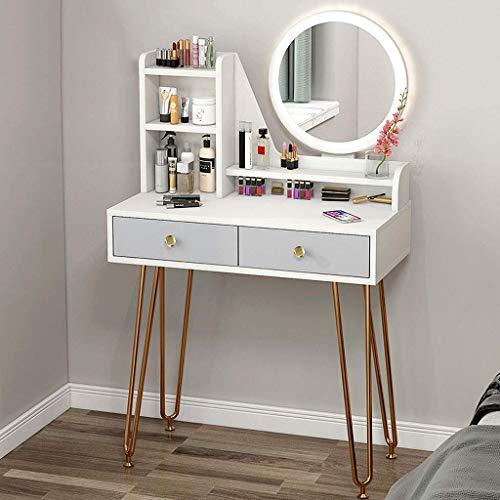 N/Z Living Equipment Tocador Blanco Juegos de Mesa de Maquillaje con Espejo Tocador con 2 cajones para Dormitorio