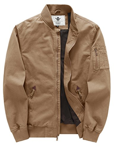 WenVen Men's Fall Cotton Casual Bomber Jacket(Khaki,S)