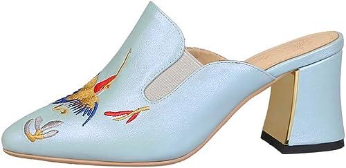Chaussures pour Femmes, Chaussures Mode pour Femmes épaisses avec des Sandales à Talons Hauts Baotou pour Femmes,A,38