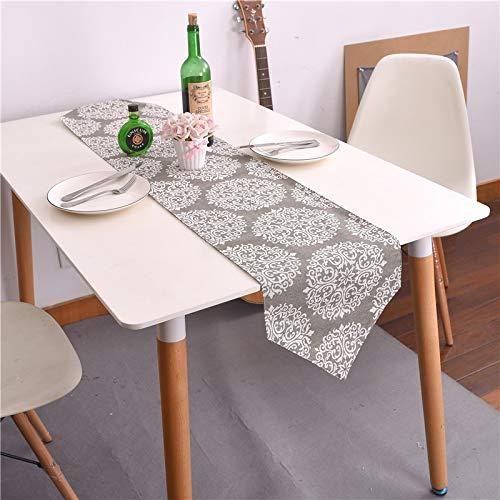 Bestenrose Forniamo runner da tavolo, decorazione su 2 lati, in cotone e lino, per sala da pranzo,...