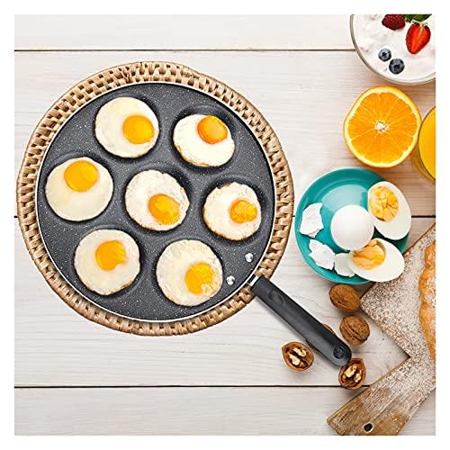 ppqq Adecuado for Cocina Interior 4/5/7 Agujero Wok Sin Humo graso Huevo Huevo Huevo Placa de jamón Antiadherente Huevo Huevo Pan SART Pan de Desayuno Máquina de Desayuno Placa de Tortilla Engrosada