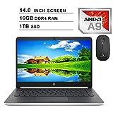 2020 Newest HP Pavilion 14 Inch Premium Laptop| AMD A9-9425 up to 3.7GHz| 16GB DDR4 RAM| 1TB SSD| AMD Radeon R5| WiFi| Bluetooth| Windows 10 Home S + NexiGo Wireless Mouse Bundle