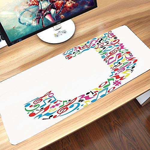 Tappetino per mouse da gioco,Lettera J, J Tipografia in Artful Design Note musicali Stile grafico ABC F,Pad con Base in Gomma Lavabile, Antiscivolo Tappetino Scrivania per Computer, PC e Laptop60x35cm