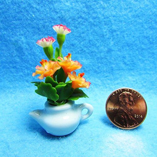 Dollhouse Miniature Carnations & Morning Glory in White Teapot CTP- - My Mini Fairy Garden Dollhouse Accessories for Outdoor or House Decor