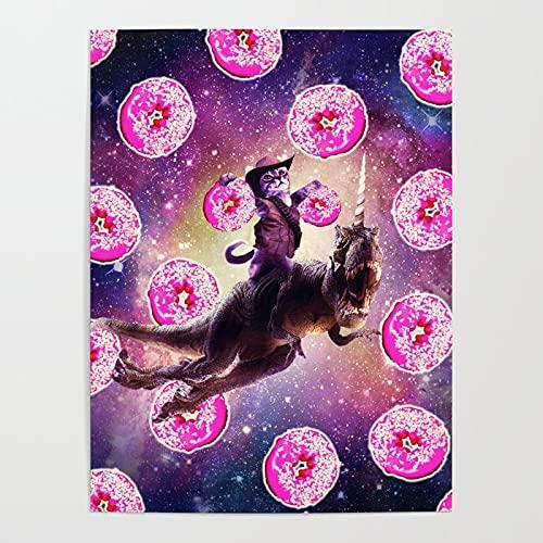 MBOQIAN Pintar por Numeros para Adultos Niños Gato Espacial en un Unicornio Pintura por Números con Pinceles y Pinturas Decoraciones, Decoración del Hogar, 40x50cmSin Marco