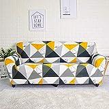 MKQB Funda de sofá de Sala de Estar, Funda de sofá de combinación geométrica elástica, Funda de sofá de Esquina Impresa, Antideslizante y Lavable NO.14 3seat-L- (190-230cm