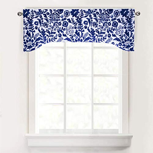 DriftAway Julia U Shape with Selfcord Lined Thermal Insulated Energy Saving Rod Pocket Window Curtain Single Swag Valance 52 Inch by 16 Inch Plus 2 Inch Header Navy