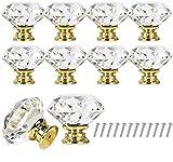 Longsing Pomelli di Cristallo Maniglie e Pomelli Cassette Tiri del Cassetto di Cristallo di Cristallo del Diamante di 10PCS 30mm con Vite per Ufficio a Casa