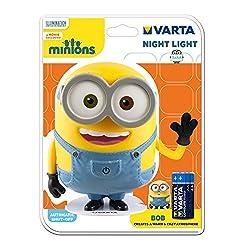 """Varta Minions Nachtlicht """"Bob"""" - inklusive 3x AA High Energy Batterien - mit Touch-Sensor auf der Hosentasche - Leuchtdauer bis zu 300 Stunden - mit Auto-Abschaltfunktion - ideal zum Einschlafen"""