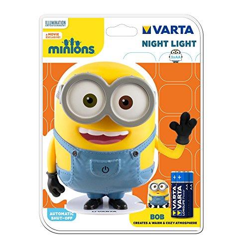 Varta LED Minions Nachtlicht Bob (inkl. 3x Longlife Power AA Batterie Taschenlampe Orientierungslicht Nachtlampe Stimmungslicht für Schlafzimmer Kinderzimmer mit Touch-Sensor und Auto-Abschaltfunktion)