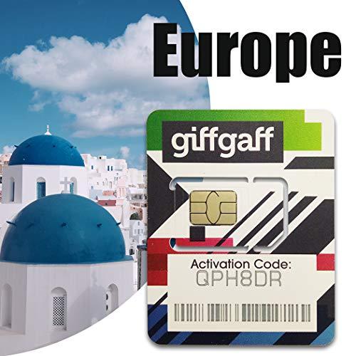 Giffgaff - Tarjeta SIM de 20 GB con Mensaje Pay As You Go en 37 países (7 días)