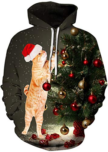 FLYCHEN Uomo Felpa con Cappuccio Natale 3D Stampato Usura delle Coppie Costumi di Natale Inverno Indossare con Tasca a Canguro Doppio Strato Manica Lunga Gatto in Piedi 2XL/3XL