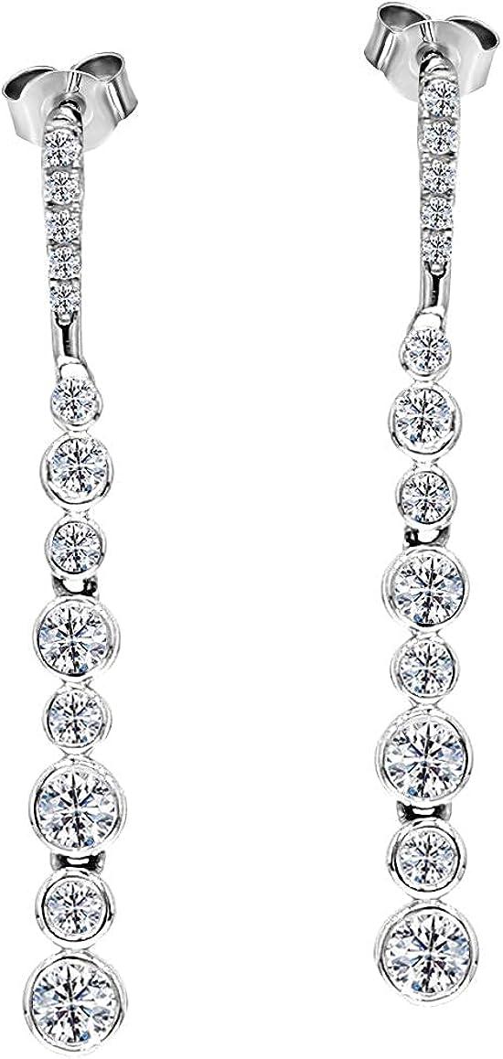 IGI Certified Lab Grown Diamond Earrings 10K White Gold 5/8 carat Lab Created Diamond Dangler?Earring For Women ( 5/8 CTTW, HI Color, I1 Clarity Diamond Jewelry For Women)