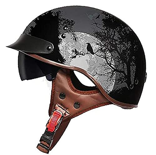 Medio casco de motocicleta clásica, casco retro abierto con gafas, adecuado para motocicletas de crucero, casco de ciclomotor forrado desmontable unisex, certificación DOT/ECE A,one size