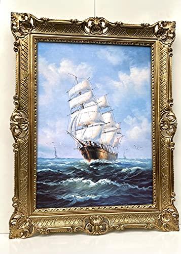 Cuadros de velero de barco antiguo en el mar, 90 x 70 cm, cuadro antiguo, impresión artística, con marco barroco, color dorado