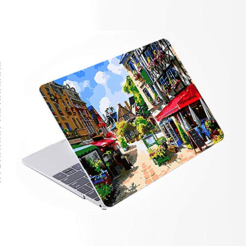 SDH Only Compatible Older for MacBook Pro 13 Inch Case Model A1278 CD-ROM Early 2012-2008 Release, Plastic Pattern Hard Shell & Laptop Sleeve Bag & Gradient Keyboard Cover, Painting City 14
