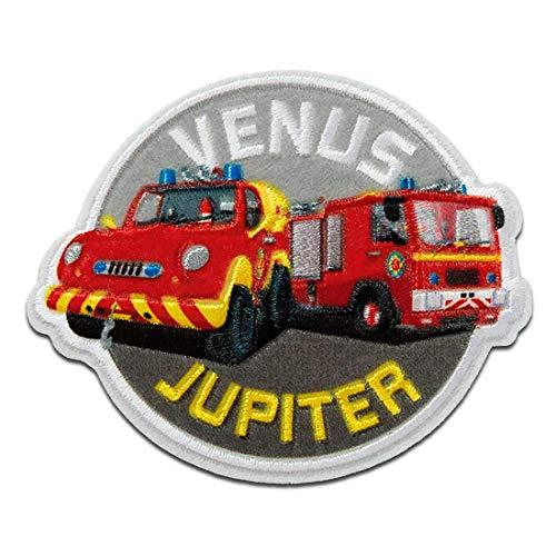 Feuerwehrmann Sam © Venus Jupiter Feuerwehrwagen - Aufnäher, Bügelbild, Aufbügler, Applikationen, Patches, Flicken, zum aufbügeln, Größe: 6 x 7,3 cm