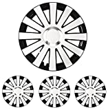 """Fussmatten-Deluxe 4er Set Universal Radkappen Radzierblenden 16 Zoll 16"""" R16 universell für Stahlfelgen vieler Fabrikate Schwarz - Weiss"""