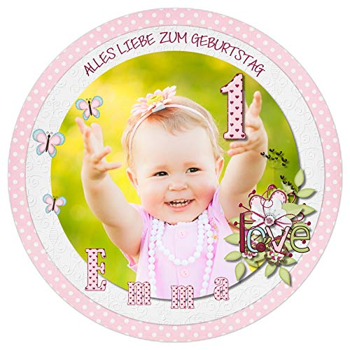 Tortenaufleger Tortenbild Kindergeburtstag Einschulung Kommunion rosa Blume Mädchen sofort frei gestalten den Wunschtext und Foto essbar Ø 20cm 246