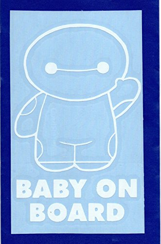 """Big Hero 6 Baymax 5.5"""" Tall Baby on Board Decal Sticker for Laptop Car Window Tablet Skateboard - White"""