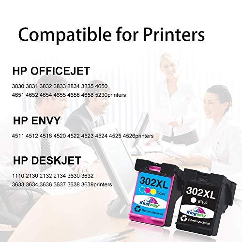 Kingway wiederaufbereitet302XL als Ersatz für HP 302 302XL 302 XL Tintenpatronen für HP Officejet 3831 3830 5230 5220 für HP DeskJet 3630 2130 3636 für HP Envy 4520 4525 4522 (1 Schwarz, 1 Farbe)