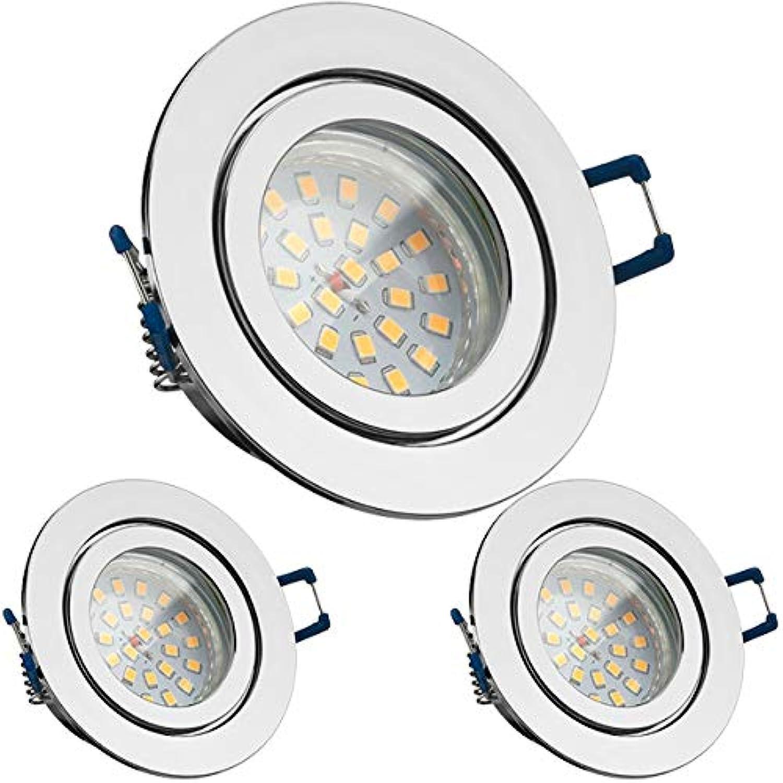 LED Chrom Set Einbaustrahler LED IP44 3er GU10 mit rund ...