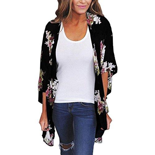 VEMOW Heißer Sommer Herbst Frauen Chiffon Lose Schal Print Kimono Cardigan Top Cover Up Bluse Beachwear (56 DE / 2XL CN, Schwarz)