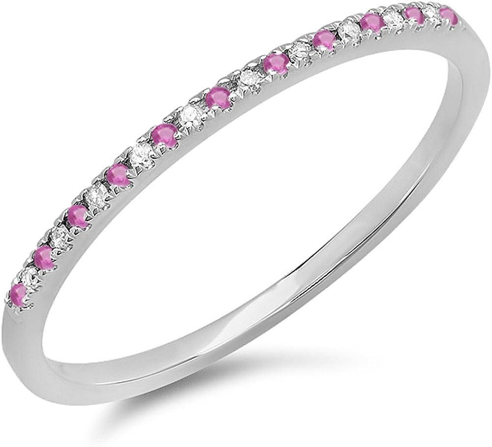 Dazzlingrock Collection 14K Round Pink Sapphire & White Diamond Ladies Dainty Anniversary Wedding Stackable Ring, White Gold