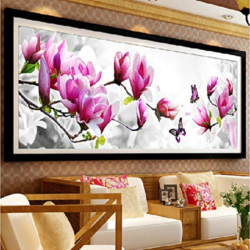 5D Diamond Embroidery Flower Diamond Pasting Kits Needlework Mosaic Home Decor Painting Magnolia and Butterfly Painting 151X55CM