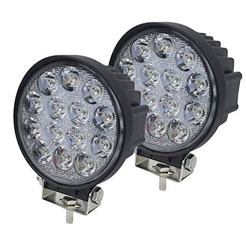 MIRACLE 2x42W Rond lampe phares longue portée LED 12v 24v Quad tracteur 4x4 feux Offroad