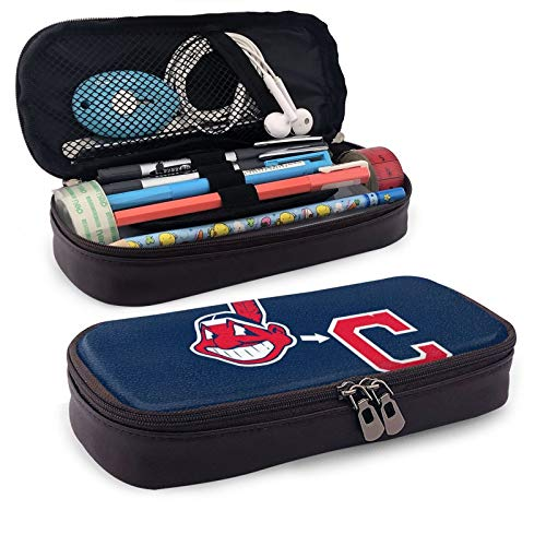 Cl-eveland in-dians - Estuche para lápices de gran capacidad, plegable, multiusos, para escuela, suministros de oficina, cosméticos, accesorios de viaje