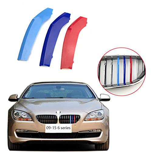 lanyun m Color Insert Stripes Trims for 09-15 BMW F06 F12 F13 6 Series 630i 640i 650i Center Kidney Grille 10 Beam