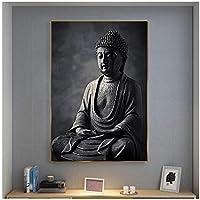 大きなサイズの黒い瞑想仏像壁アートキャンバスプリント壁にキャンバスアート絵画家の装飾のための仏教の写真70x100cm(28x40in)