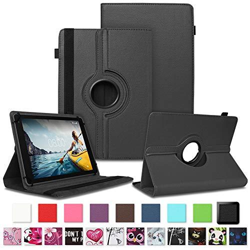 NAUC Tablet Hülle kompatibel für Medion Lifetab E10711 Tasche Schutzhülle Schutztasche Cover Schutz Hülle 360 Drehbar, Farben:Schwarz
