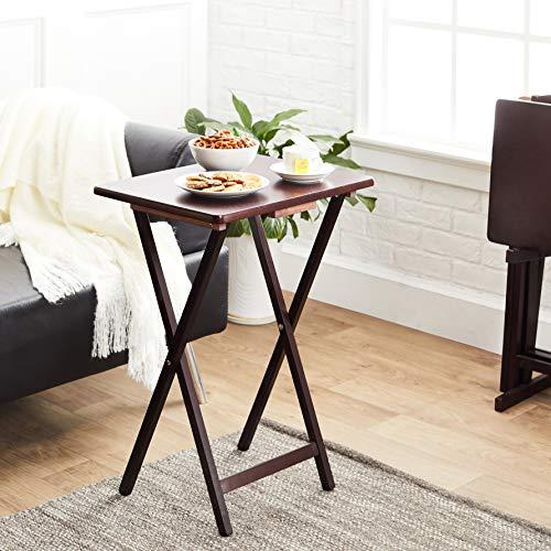 AmazonBasics Classic TV Dinner Folding Trays with Storage Rack, Espresso - Set of 4