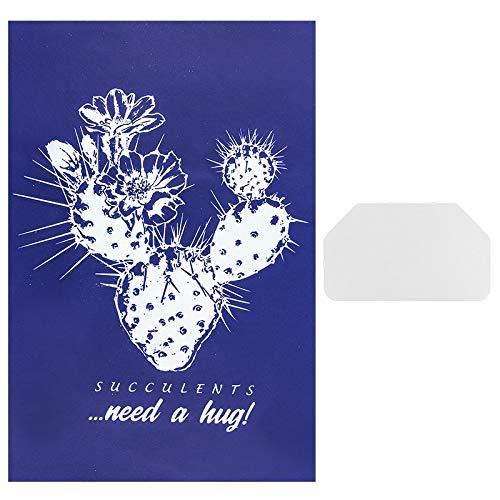 Ideen mit Herz Siebdruck-Schablone | Motiv + Schriftzug | 32,5 cm x 22,5 cm | selbstklebend | inkl. Rakel | ideal für Textil, Holz, Glas, Keramik, Papier (Kaktus | Succulents Need a Hug)