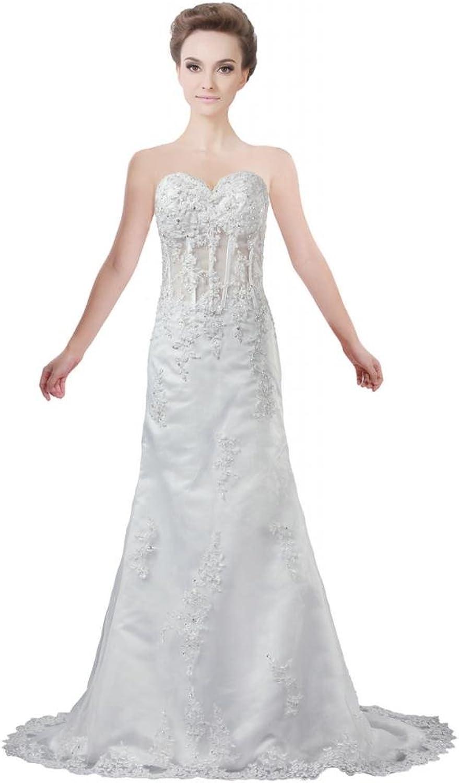 ANTS Women's See Through Waist Designer A Line Wedding Dress Lace