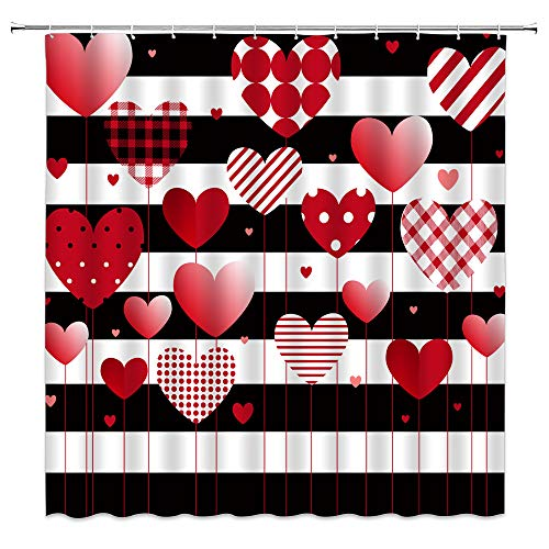 AMHNF Sweet Heart Shower Curtain Valentine Day Creative Black White Stripe Romance Red Pink Heart Balloon Plaid Stripe Polka Dot for Lover Rustic Dreamy Home Bathroom Decor Fabric Curtain with Hooks