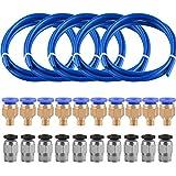 SIQUK 5 Piezas Tubo de teflón de PTFE(1 metros) con 10 Piezas PC4-M6 Fittings y 10 Piezas PC4-M10 Fittings para impresora 3D Filamento 1.75mm