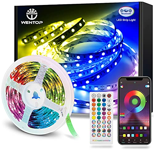 WenTop Tira LED Bluetooth 15m, Luces LED Habitación 15 Metros, RGB Tiras LED con Control Remoto y Inteligente Control de APP, Cambia el Color con la Música, Para Decoración de Bares, Fiestas, Cocina