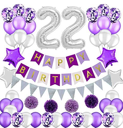 Colorpartyland - Juego de decoraciones de cumpleaños de color morado y plateado, diseño de globos de látex y confeti con número enorme 22 globos para niñas 22 cumpleaños