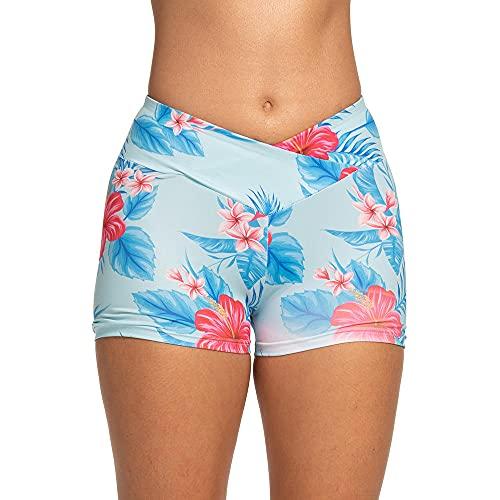 ArcherWlh Leggings Mujer Push Up,Cruz Europea y Americana Impresión de Cintura Casual Deportes Hip Slim Fitness Yoga Pantalones Cortos-Azul_SG