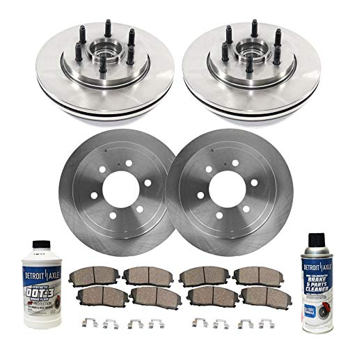 Detroit Axle - All (4) Front and Rear Disc Brake Kit Rotors w/Ceramic Pads w/Hardware & Brake Kit Cleaner and Fluid for 2004 2005 2006 2007 2008 Ford F-150 2WD 6 Lug - [06-08 Lincoln Mark LT]
